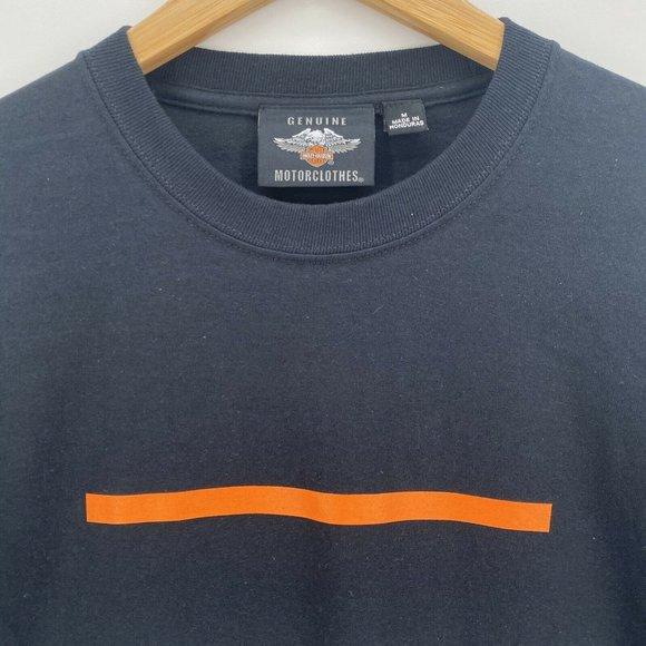 Harley Davidson Sweatshirt Men/'s *Choose Size* Sleeve Logo Spellout Black//Orange